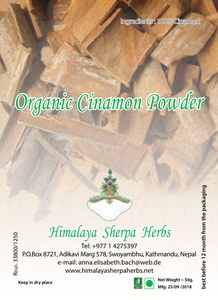 Organic Cinnamon Powder, 50 gr